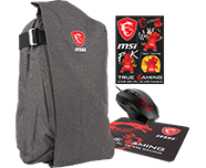 Supplied with - Free MSI Xmas17 GS/GE/GP Bundle Backpack & Mouse