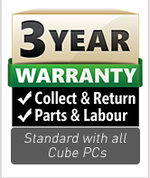 3 Year warranty as standard with all Cube Custom PCs