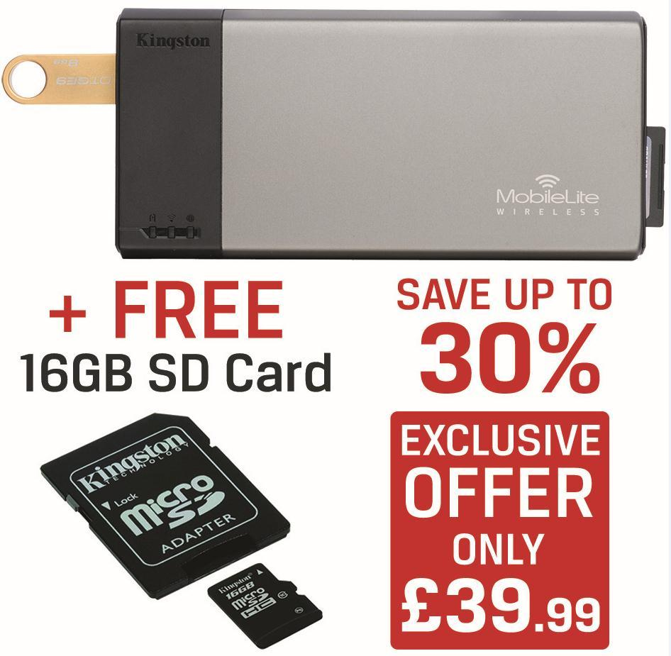 KINGSTON CARD READER, STREAMER, CHARGER  + FREE 16GB SD CARD! ONLY £39.99