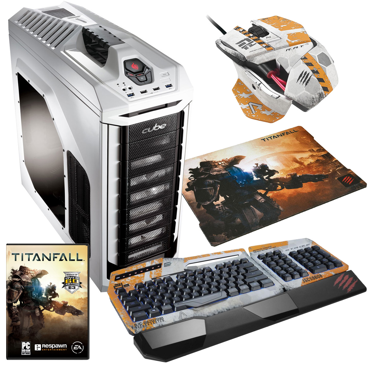 Cube Titanfall Watercooled Gaming PC Bundle Core i5k with Mad Catz TitanFall Keyboard/Mouse & Surface