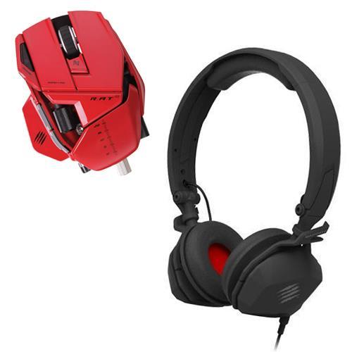Free FREQ M Wired Mobile Headset with Mad Catz R.A.T. 9 Wireless Gaming Mouse 6400Dpi (Red)