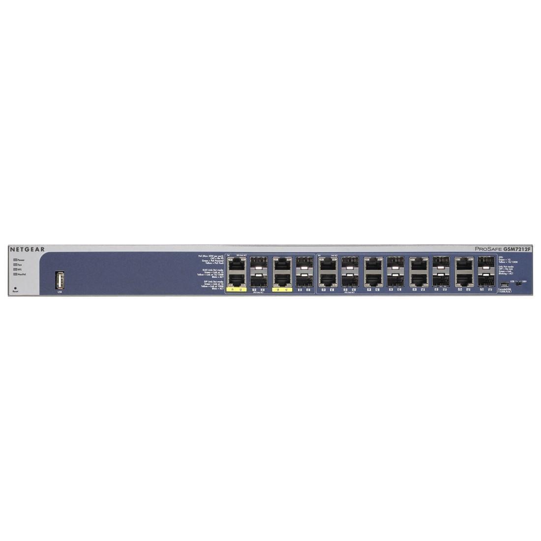 Netgear ProSafe GSM7212F-100NES - 12 Port Gigabit Fiber Layer 2 Managed Switch