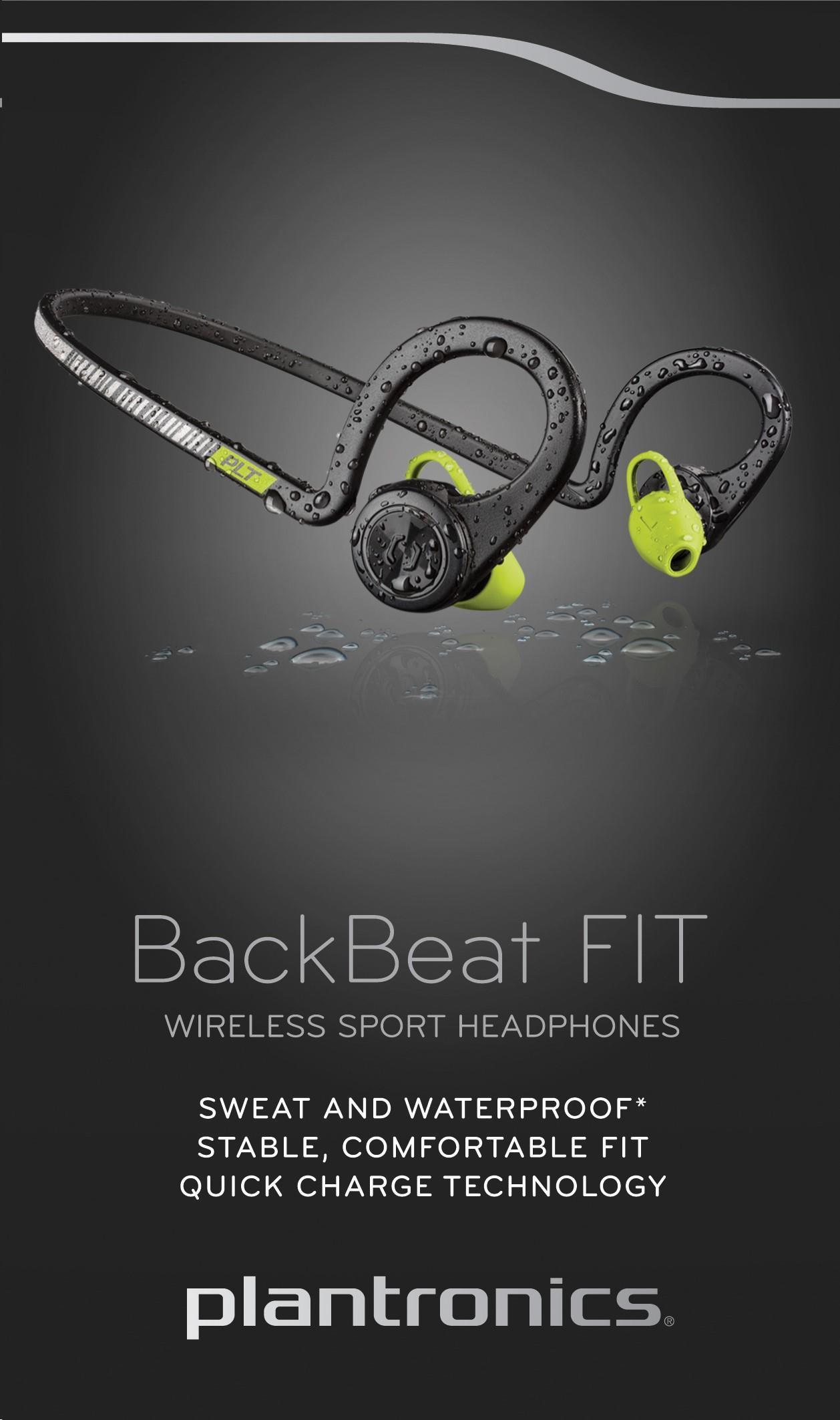 Plantronics Backbeat FIT Stereo Bluetooth Sports Headphones (Black Core)