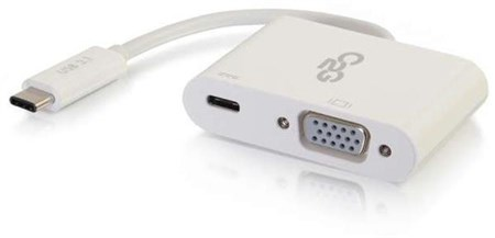 C2G USB-C to VGA Video Adapter Converter with Power Delivery (White), 80495
