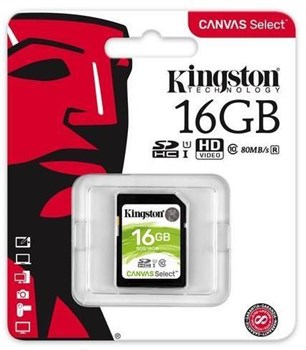SDS/16GB, Kingston Canvas Select 16GB UHS-1 (U1) SD Card