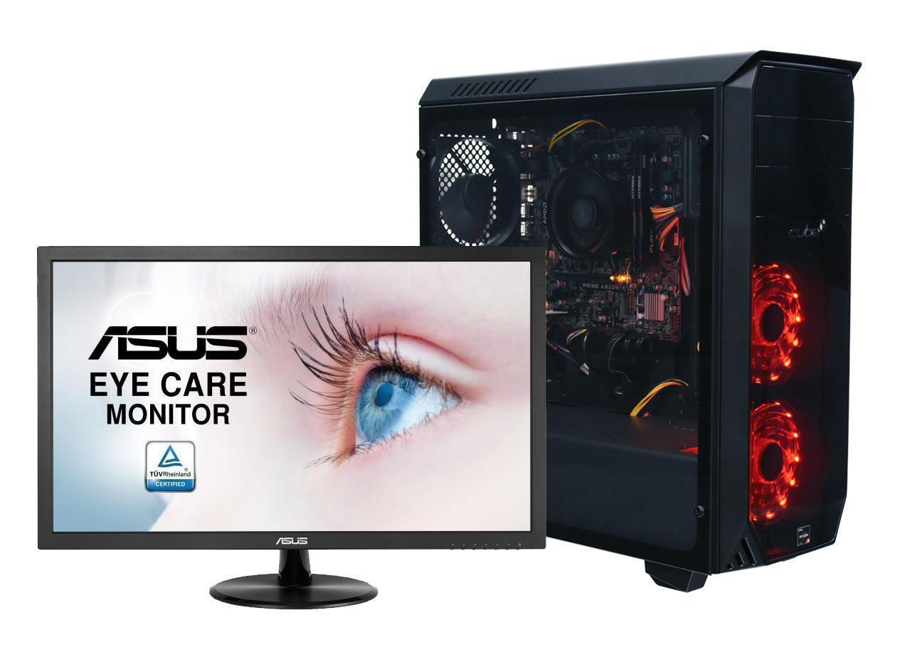 Cube Rgb Ryzen 3 Quad Core Gaming Pc Bundle With Full Hd Monitor Te