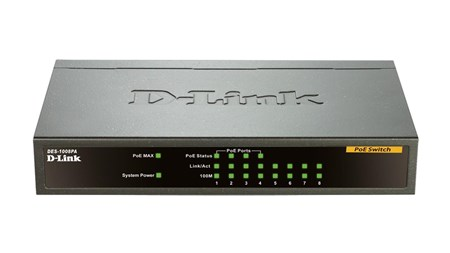 DES-1008PA, D-Link DES-1008PA 8‑Port Fast Ethernet PoE Unmanaged Desktop Switch