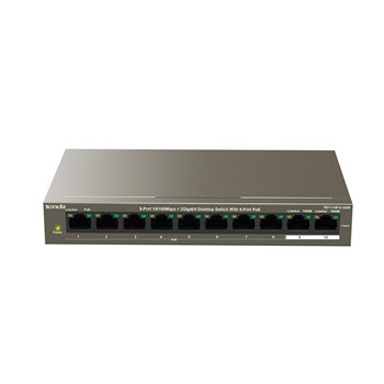 TEF1110P-8-102W, Tenda TEF1110P-8-102W 8-Port 10/100Mbps+2 Gigabit Desktop Switch With PoE