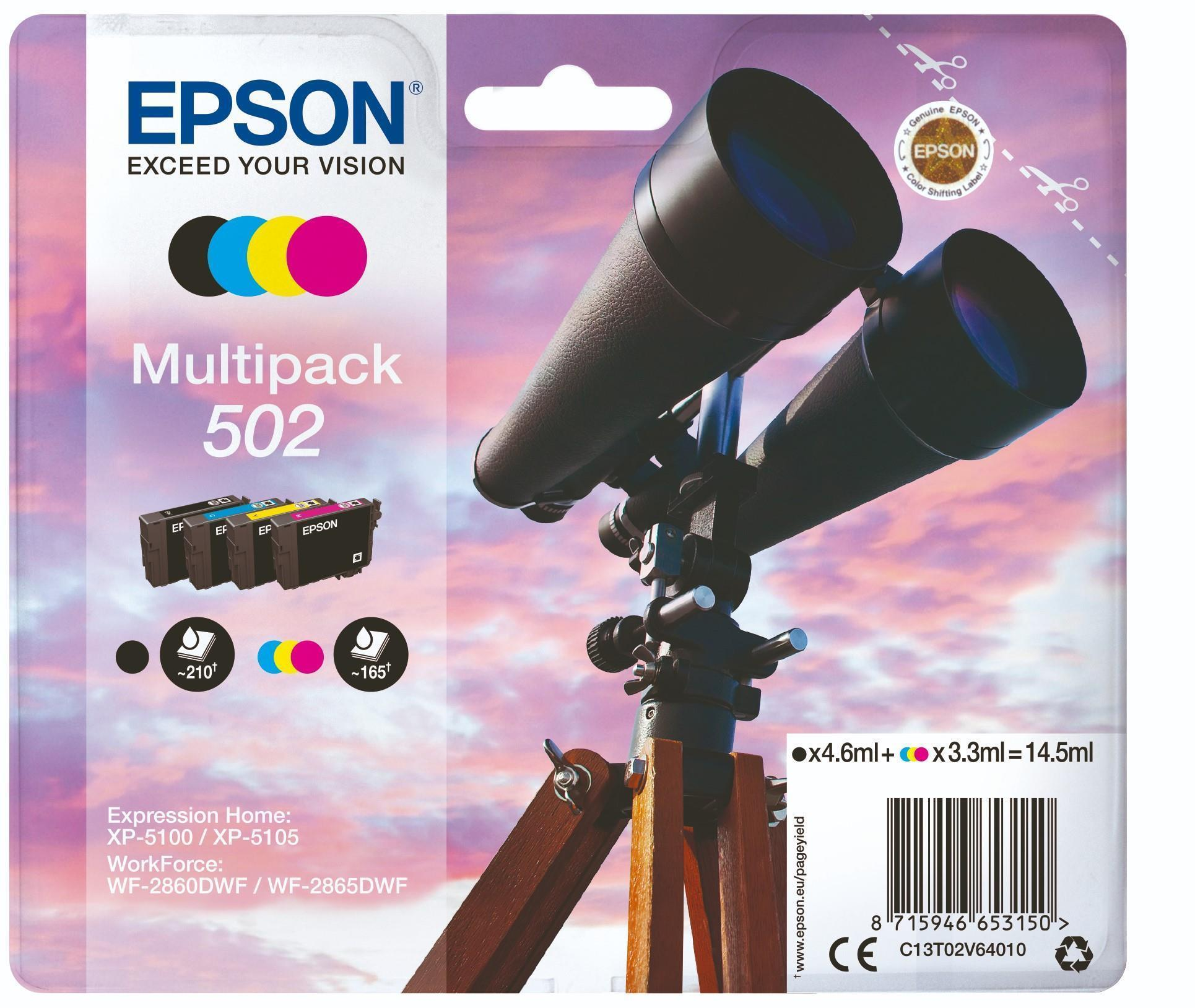 Epson C13T02V64010 502 Black/Cyan/Magenta/Yellow Multipack Binoculars Ink Consumables