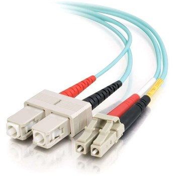 C2G - 10m LC-SC 10Gb 50/125 OM3 Duplex Multimode PVC Fibre Optic Cable (LSZH) Aqua, 85536