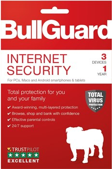 BullGuard Internet Security - 1 Year 3 Device (Attach Version), attach Only