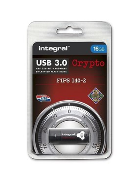 INFD16GCRY3.0140-2, Integral Crypto FIPS 140-2 16 GB USB 3.0 Flash Drive with 256 Bit AES Hardware Encryption