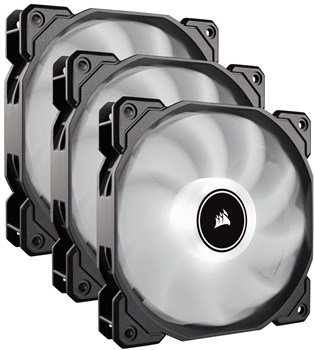 CO-9050082-WW, Corsair Air Series AF120 LED (2018) White 120mm Case Fan - Triple Pack