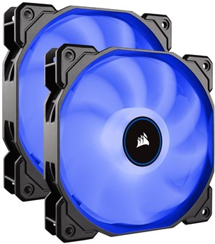 CO-9050090-WW, Corsair Air Series AF140 LED (2018) Blue 140mm Case Fan - Twin Pack