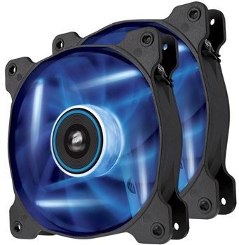 CO-9050016-BLED, Corsair Air Series AF120 LED Blue Quiet Edition 120mm High Airflow Case Fan - Twin Pack