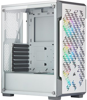 Corsair iCUE 220T RGB Tempered Glass Mid Tower Case- White, CC-9011174-WW