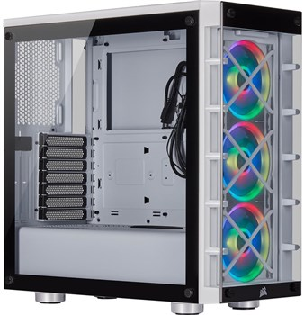 Corsair iCUE 465X RGB Tempered Glass Mid Tower Smart Case- White, CC-9011189-WW