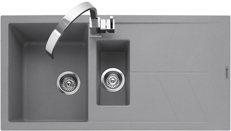 Caple Sotera 150 Inset Granite Kitchen Sink with Drainer - Pebble Grey (Matt), SOT150PG