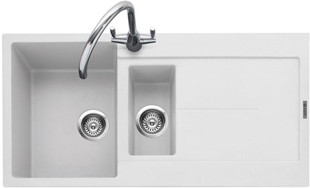 Caple Canis 150 Inset Granite Kitchen Sink with Drainer - Chalk White (Matt), CAN150CW