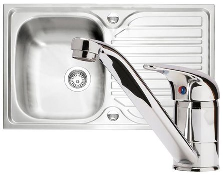 Caple Arrow 91 Sink and Tap Pack - Stainless Steel, PK/AR91