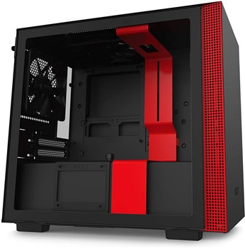 NZXT H210 Tempered Glass Mini ITX Tower Case - Black/Red, CA-H210B-BR