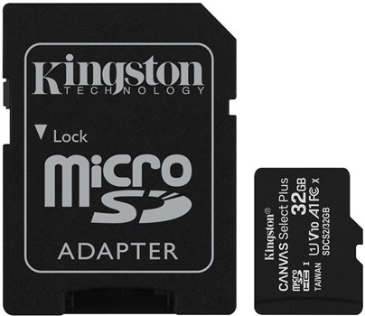 Kingston Canvas Select Plus Micro 32GB UHS-1 (U1) SD Card 2 Pack with 1 Adaptor, SDCS2/32GB-2P1A