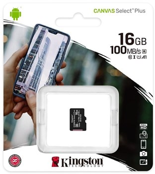 Kingston Canvas Select Plus Micro 16GB UHS-1 (U1) SD Card, SDCS2/16GBSP