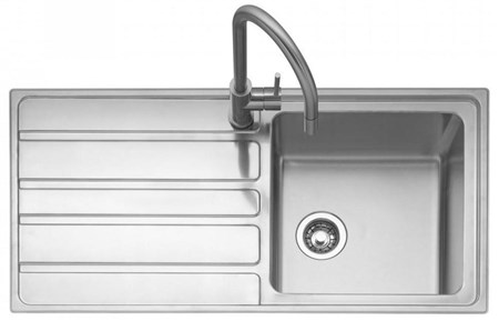 Caple Vertice 100 Left Drainer Inset Kitchen Sink - Stainless Steel, VER100L