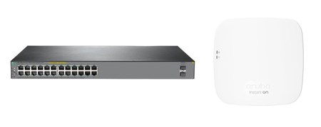 HPE OfficeConnect PoE+ 26-Port Switch & Aruba Instant On AP12 Indoor Access Point Bundle, 73331716