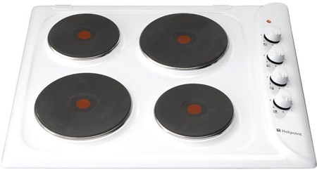 Hotpoint E6041W 60cm Solid Plate Electric Hob - Stainless Steel,