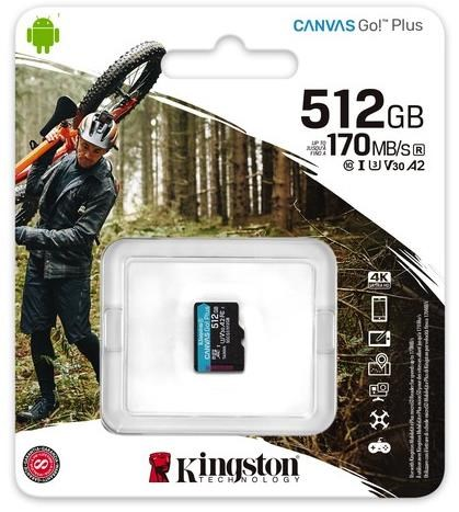 SDCG3/512GBSP, Kingston Canvas Go! Plus MicroSD 512GB UHS-I (U3) SD Card w/o adaptor