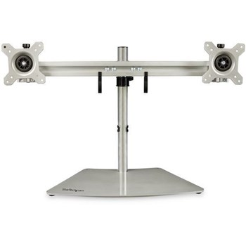 ARMDUOSS, StarTech.com Dual-Monitor Stand - Horizontal For up to 24 Monitors Silver Adjustable