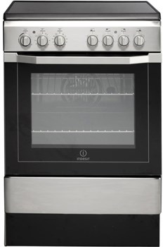 Indesit I6VV2AX 60cm Single Oven Electric Cooker with Ceramic Hob (Stainless Steel),