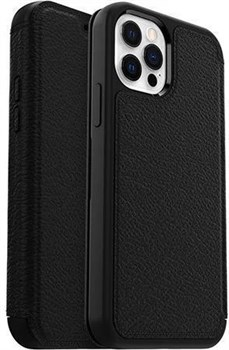 77-65420-iPhone12, OtterBox Premium Leather Strada Series iPhone 12 Wallet Case - Black