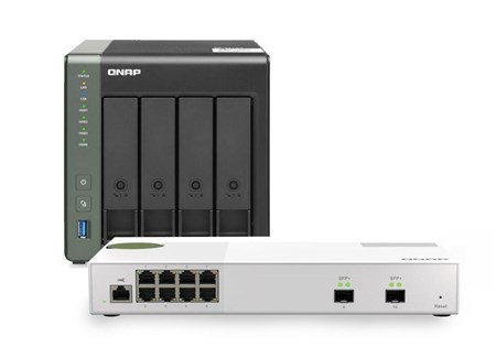 TS-431X3-4G-Bundle, QNAP TS-431X3-4G 4-Bay Desktop NAS Enclosure & QSW-M2108-2S 8-Port 2.5 Gigabit Web Managed Switch