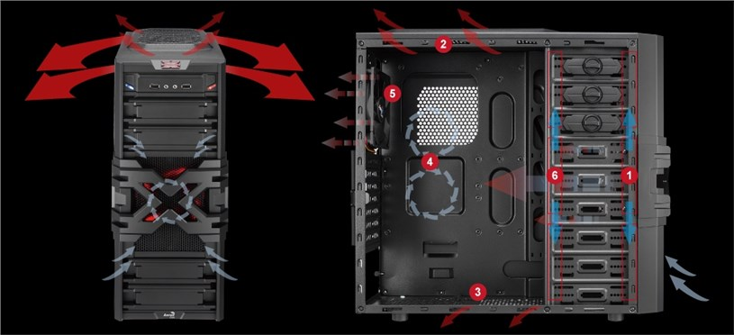 Aerocool Strike-X One Mid-Tower Gaming Case Screwless Red Led Fans