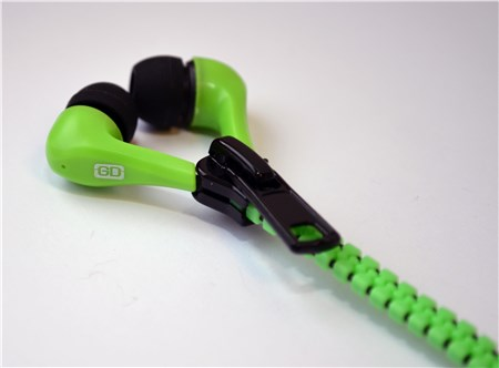 Gemini Zippy Tangle Free In Ear Zip Headphones Green, GEM-Z1345-GRN