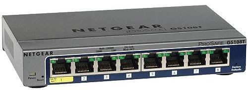 Netgear ProSafe GS108Tv2 Managed 8 Port Ethernet Switch - 8 Port