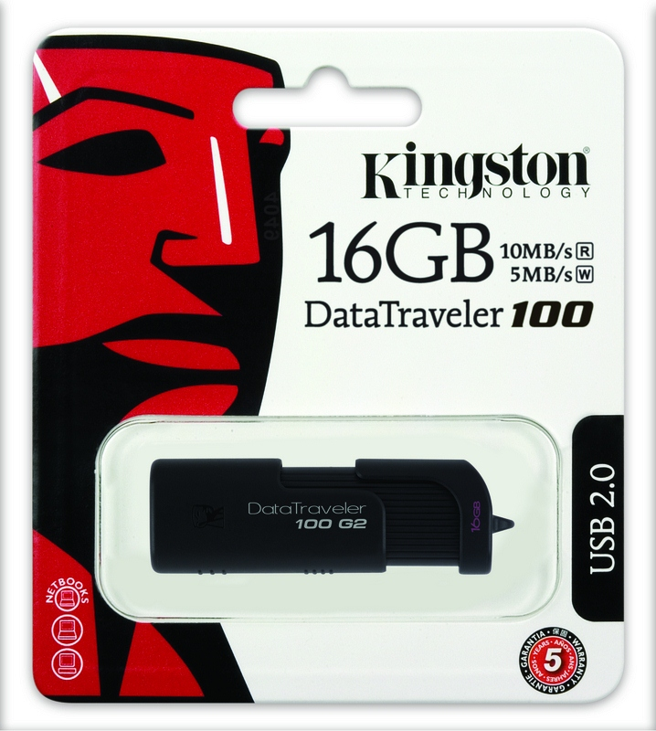 Kingston 16GB USB Pen Drive DataTraveler 100 Generation 2 - Black