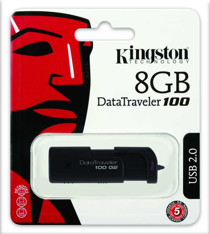 Kingston 8GB USB Pen Drive DataTraveler 100 Generation 2 - Black
