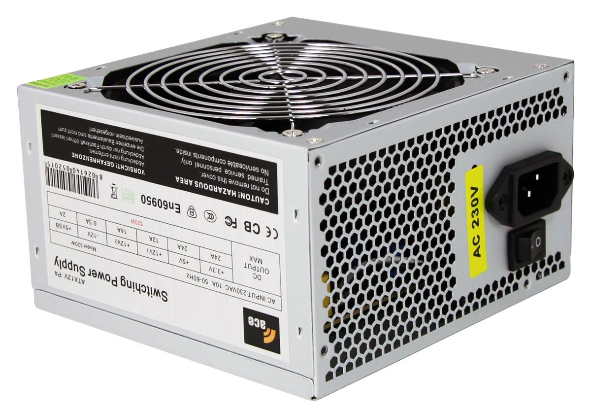 520W Ace Value Grey PSU 24 Pin with 12Cm Fan SATA Power Supply