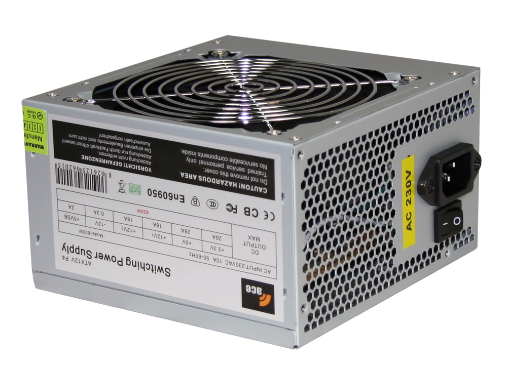 620W Ace Value Grey PSU 24 Pin with 12cm Fan SATA Power Supply