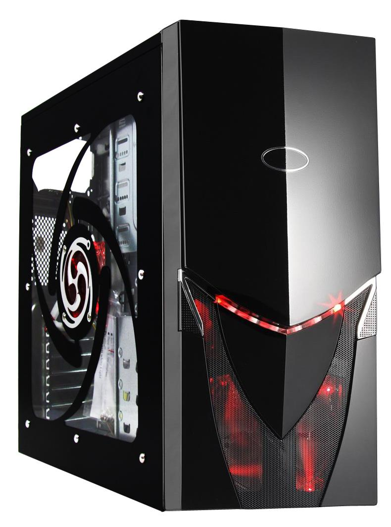 Cit Saturn Midi Tower Case With 2 X Red Led Fans