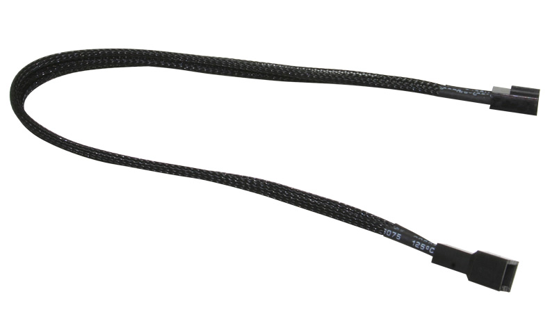 NZXT 3 Pin Fan Black Sleeved Extension Cable