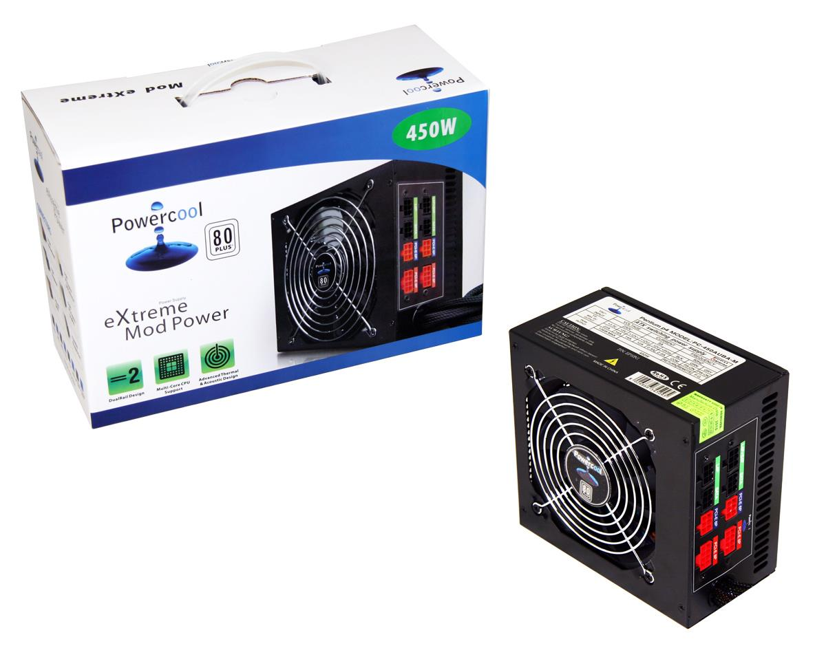 450W Modular Powercool Black PSU 80 Plus 12cm Fan SATA Power Supply