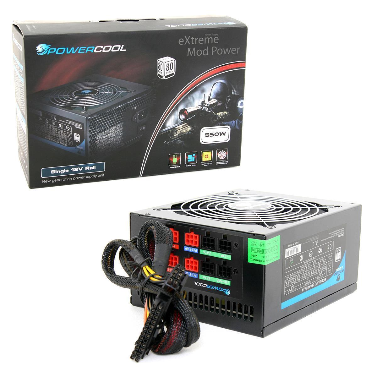 550W Modular Powercool Black PSU 80 Plus 12cm Fan SATA Power Supply