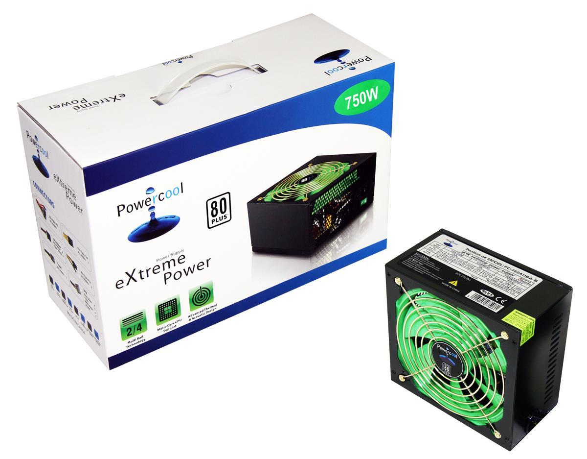 750W Powercool Black PSU 80 Plus 12cm Fan SATA Power Supply