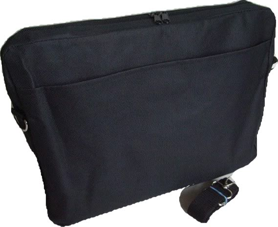 "Black 15.6"" Basics Laptop Bag with Pocket and Shoulder Strap"