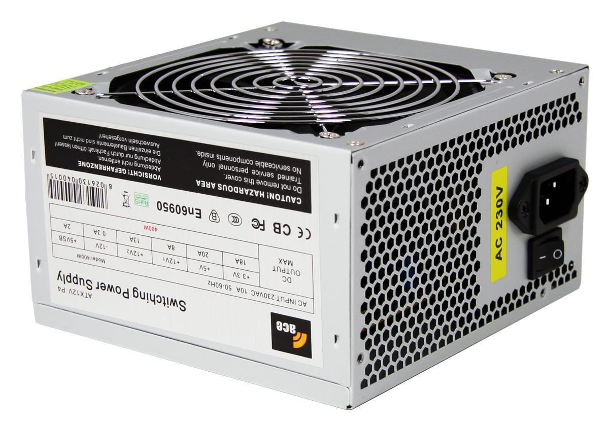 400W Ace Value Grey PSU 24 Pin with 12cm Fan SATA Power Supply