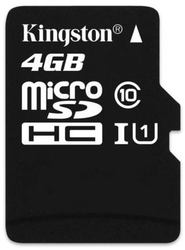 Kingston 4GB Class 10 MicroSDHC Memory Card - Full Size SD Adapter Not Included